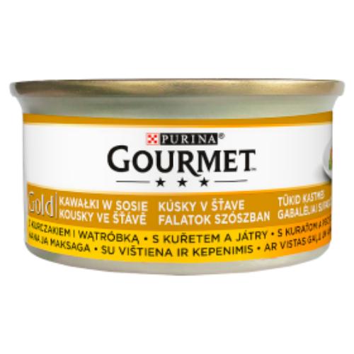 GOURMET GOLD Macska Konzerv - Szószban Csirkével és májjal 85g