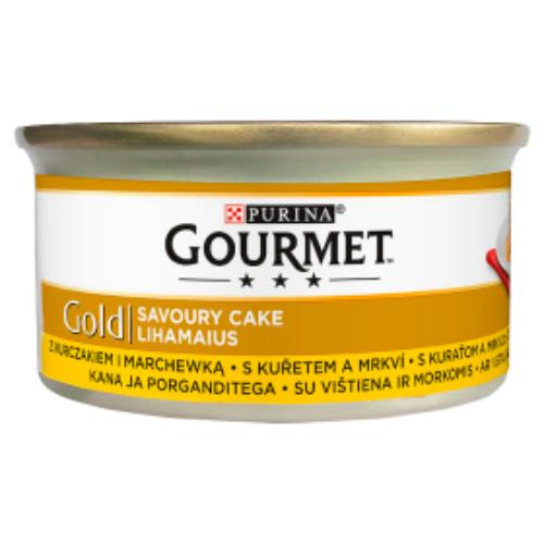 GOURMET GOLD Macska Konzerv - Savoury Cake Csirkével és sárgarépa 85g