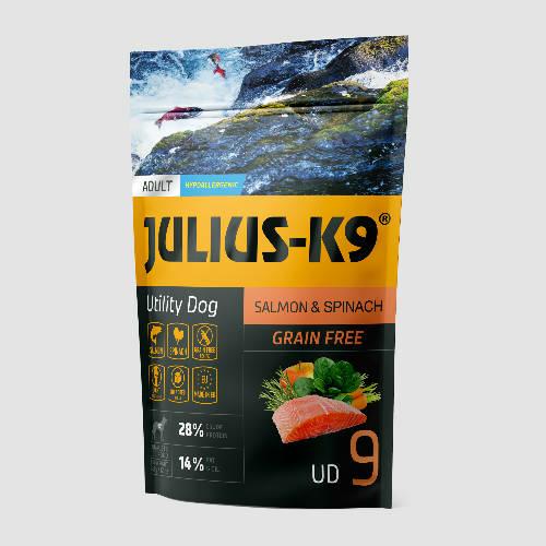 JULIUS-K9 Kutyatáp - Adult GF Utility Dog Hypoallergenic Salmon Spinach   340g