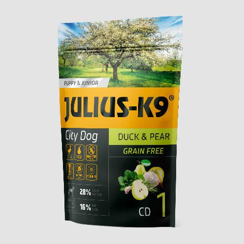 JULIUS-K9 Kutyatáp - Puppy GF City Dog Hypoallergenic Duck Pear   340g