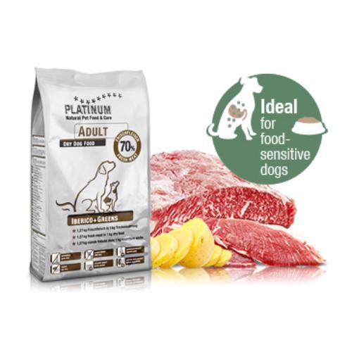PLATINUM Kutyatáp - Adult Iberico+Greens  5kg x3